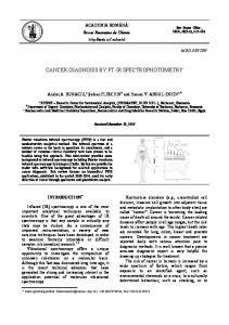 cancer diagnosis by ft-ir spectrophotometry - Revue Roumaine de ...