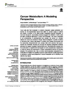 Cancer Metabolism - Chalmers Publication Library