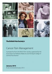 Cancer Pain Management - The British Pain Society