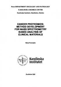 CANCER PROTEOMICS: METHOD DEVELOPMENT FOR MASS ...