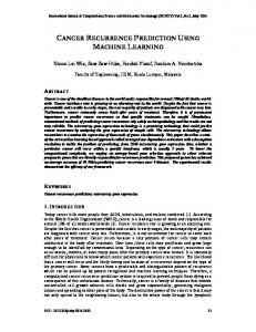 cancer recurrence prediction using machine learning - Semantic Scholar