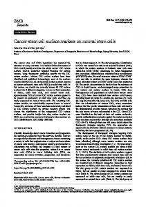 Cancer stem cell surface markers on normal stem ... - Semantic Scholar