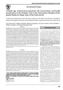 Candida spp. isolated from inpatients, the environment, and ... - SciELO