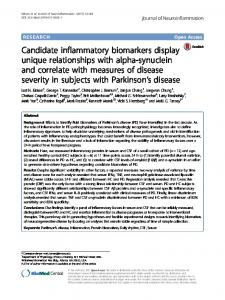 Candidate inflammatory biomarkers display unique relationships with ...