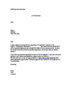 Candidate Recruitment and Selection Sample Letters