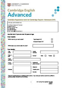 Candidate Registration form for Cambridge English: Advanced (CAE)