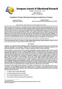 Candidate Teacher Education Program Confusion in Turkey