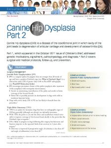 Canine Hip Dysplasia Part 2 - Clinician's Brief
