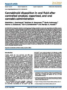 Cannabinoid disposition in oral fluid after controlled ...
