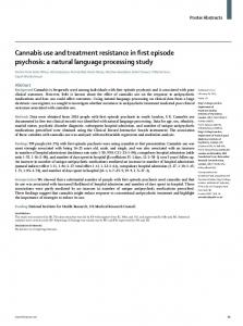 Cannabis use and treatment resistance in first episode psychosis: a ...