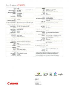 Canon iPF8300s Technical and Consumables Reference Document