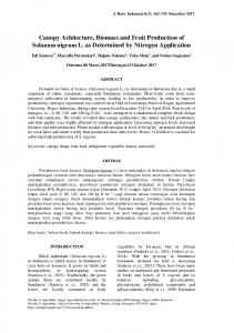 Canopy Achitecture, Biomass and Fruit Production of ... - Journal IPB