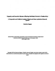 Capacity and Incentive Factors Affecting Individual ... - AgEcon Search