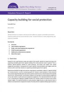 Capacity building for social protection - GSDRC