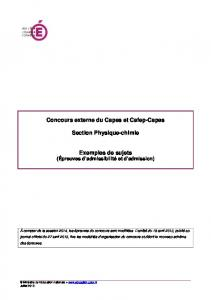 CAPES physique chimie