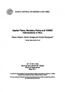 Capital Flows, Monetary Policy and FOREX Interventions in Peru - BCRP
