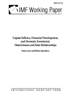 Capital Inflows, Financial Development, and Domestic Investment - IMF