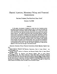 Capital Injection, Monetary Policy, and Financial ... - CiteSeerX