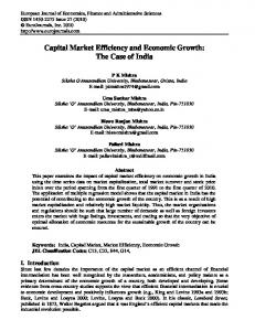 Capital Market Efficiency and Economic Growth: The