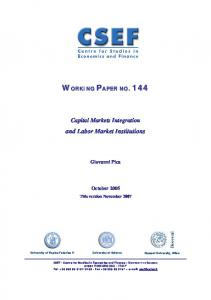 Capital markets integration and labour market institutions - Core
