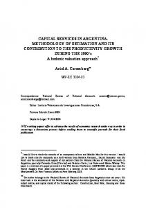 Capital Services In Argentina - Instituto Valenciano de Investigaciones ...