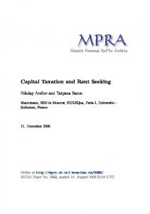 Capital Taxation and Rent Seeking - Munich Personal RePEc Archive