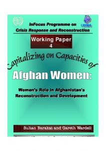 Capitalizing on Capacities of Afghan Women: Women's Role in ...