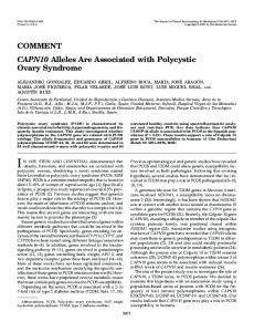 CAPN10 Alleles Are Associated with Polycystic Ovary Syndrome