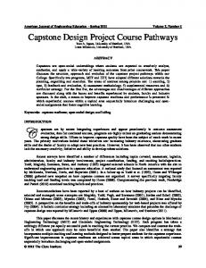 Capstone Design Project Course Pathways.