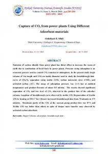 Capture of CO2 from power plants Using Different Adsorbent materials