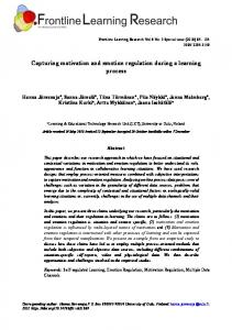 Capturing motivation and emotion regulation during a learning ... - Eric