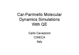Car-Parrinello Molecular Dynamics Simulations With QE