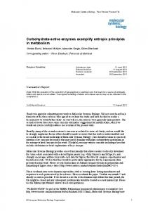 Carbohydrate-active enzymes exemplify entropic ... - BioMedSearch