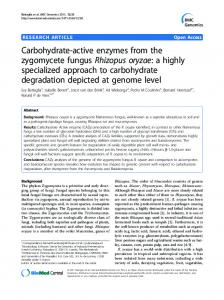 Carbohydrate-active enzymes from the zygomycete ... - BioMedSearch