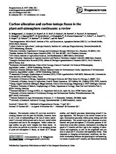 Carbon allocation and carbon isotope fluxes in the ... - Biogeosciences