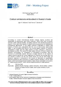 Carbon emissions embodied in Russia's trade - FIW
