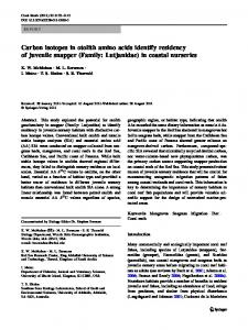 Carbon isotopes in otolith amino acids identify residency of juvenile ...