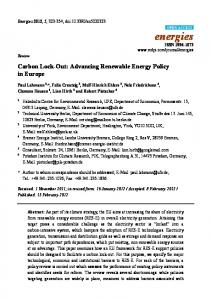 Carbon Lock-Out: Advancing Renewable Energy Policy in ... - MDPI