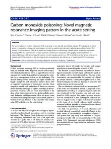 Carbon monoxide poisoning: Novel magnetic ... - Springer Link