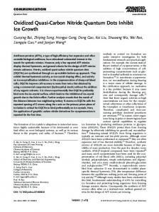 Carbon Nitride Quantum Dots Inhibit Ice Growth - Wiley Online Library