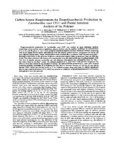 Carbon Source Requirements for Exopolysaccharide Production by ...