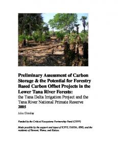 Carbon Storage - Lower Tana River Forests. - Eastern Arc Mountains ...