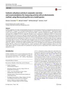 Carbonic anhydrase activity in seaweeds: overview ... - Springer Link