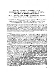 CARBONIC ANHYDRASE INHIBITORS. Part 72 ... - BioMedSearch