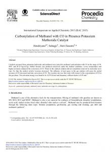 Carbonylation of Methanol with CO in Presence