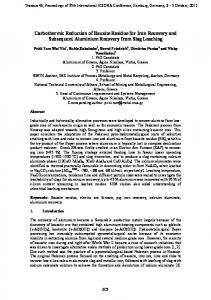 Carbothermic Reduction of Bauxite Residue for Iron ... - ICSOBA