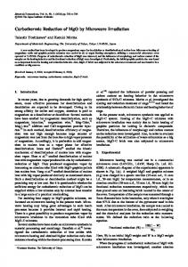 Carbothermic Reduction of MgO by Microwave Irradiation
