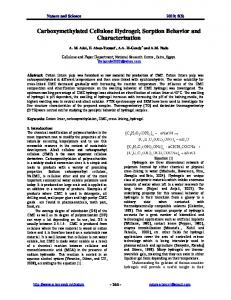 Carboxymethylated Cellulose Hydrogel; Sorption Behavior and ...