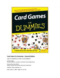 Card Game For Dummies - Second Edition - Bridge Guys