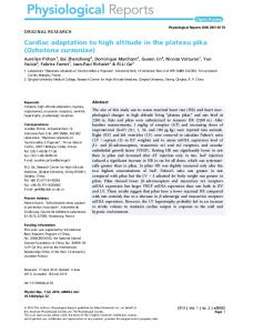 Cardiac adaptation to high altitude in the ... - Wiley Online Library